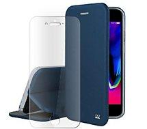 Pack Ibroz  iPhone 6/7/8/SE cuir bleu + Verre trempé