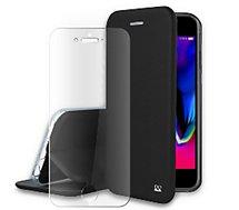 Pack Ibroz  iPhone 6/7/8/SE cuir noir + Verre trempé
