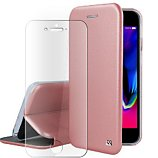 Pack Ibroz  iPhone 6/7/8/SE cuir rose + Verre trempé