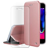 Pack Ibroz  iPhone 6/7/8/SE cuir rose + Verre trempé