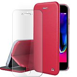 Pack Ibroz  iPhone 6/7/8/SE cuir rouge +Verre trempé