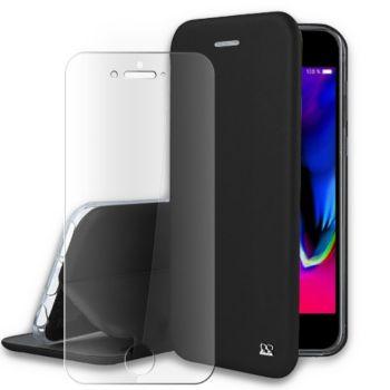 Ibroz iPhone 6/7/8 Plus cuir noir+Verre trempé