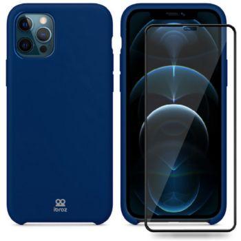 Ibroz iPhone 12 mini Coque bleu nuit + Verre
