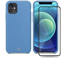 Coque Ibroz  iPhone 12 mini Coque bleu + Verre trempé