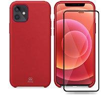 Coque Ibroz  iPhone 12 mini Coque rouge + Verre