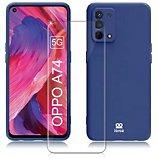 Coque Ibroz  Oppo A74 Coque bleu + Verre trempé