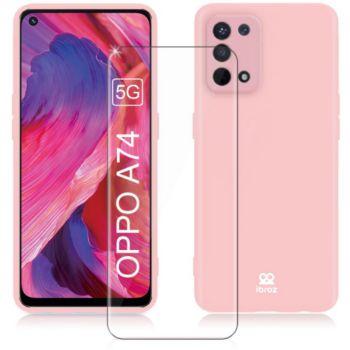 Ibroz Oppo A74 Coque rose + Verre trempé