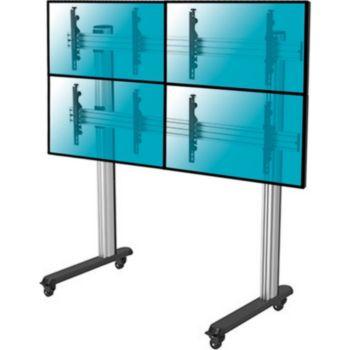 """Kimex Support à roulettes 4 écrans TV 45""""- 55"""""""