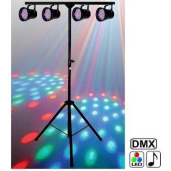 Disco Pro Pack 4 jeux PAR36 DMX à LEDS + support