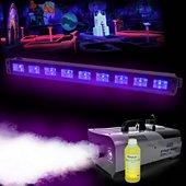 Jeu de lumières Varytec Pack Machine à fumée 900W + 1L + Barre L