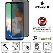 Protège écran Tm Concept Verre trempé teinté Apple iPhone X Noir
