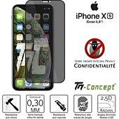 Protège écran Tm Concept Verre trempé teinté Apple iPhone XS Noir
