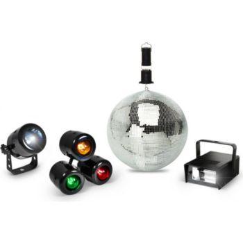 Expelec Pack lumière Spot à LED + Boule à facett