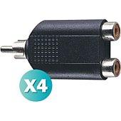 Electrovision lot de 4 Adaptateurs séparateurs 2 prise