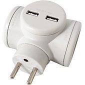 Multiprise Watt And Co Biplite 2x16A rotative + USB 2.4A Blanc