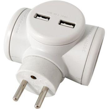 Watt And Co Biplite 2x16A rotative + USB 2.4A Blanc