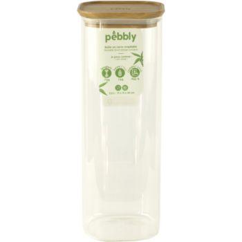Pebbly Boite en verre carre avec couvercle