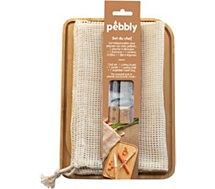 Planche à découper Pebbly  + econome + couteau + filet