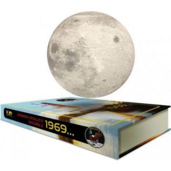 Magnetic Land Globe Lune en lévitation sur base livre