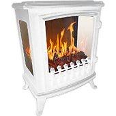 Cheminée électrique Chemin Arte Fire Glass Blanc avec flamme 3D