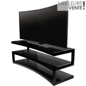 taille 40 b0a9d 28324 Meuble TV Norstone ESSE CURVE NOIR LAQUE/NOIR 1.5M 32-60P