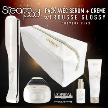l 39 oreal steampod 2 s rum lait de lissage trousse fer lisser boulanger. Black Bedroom Furniture Sets. Home Design Ideas