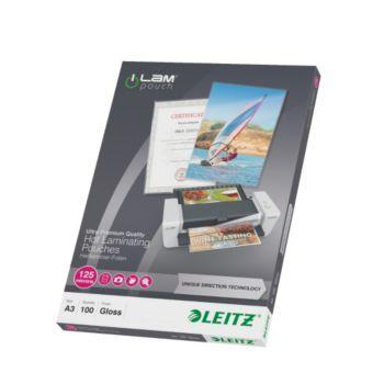 leitz pochettes 125 udt a3 boite de 100 plastifieuse. Black Bedroom Furniture Sets. Home Design Ideas