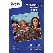 Papier photo Avery 50 Photos brillantes A4 160g/m²