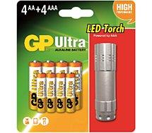 Pile GP 4AA + 4AAA + 1 torche offerte