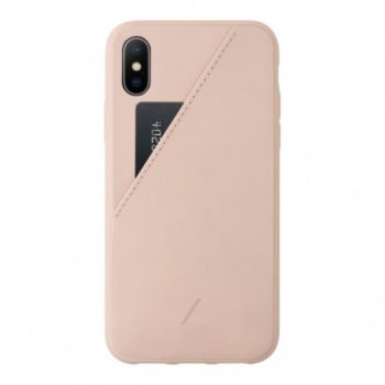 Native Union iPhone Xs ClicCard Cuir rose