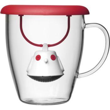 QDO Et couvercle infuseur à thé Birdie rouge