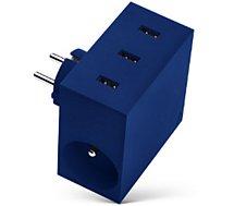 Chargeur secteur Usbepower  3 USB + 2 Gigognes - Bleu
