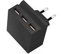 Chargeur secteur Usbepower  3 USB + Support téléphone - Noir