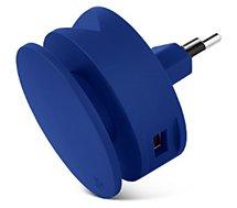 Chargeur secteur Usbepower  2 USB +enrouleur cable + support - Bleu