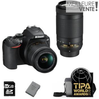 Nikon D3500+18-55VR+70-300VR+Sac+16Go+Batterie