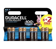 Pile Duracell  ULTRA POWER LR06 AA 6+2
