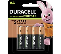 Pile rechargeable Duracell  AA/LR6 ULTRA POWER 2500 mAh, x4