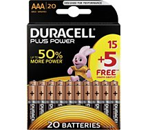 Pile Duracell  Plus Power AAA/LR03 pack de 20 unités