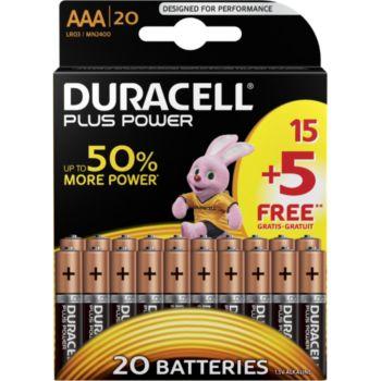 Duracell Plus Power AAA/LR03 pack de 20 unités