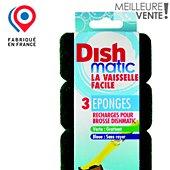 Désinfectant Dishmatic Lot de 3 recharges éponges vertes