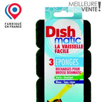 Dishmatic Lot de 3 recharges éponges vertes