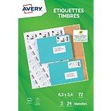 Papier créatif Avery  72 Etiquettes pour timbres 63.5x33.9mm