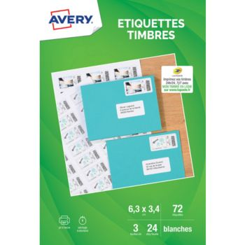 Avery 72 Etiquettes pour timbres 63.5x33.9mm