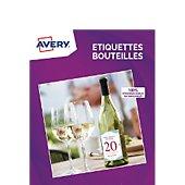Papier créatif Avery 40 Etiquettes pour bouteille 12x9cm