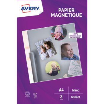 Avery 3 Papiers magnétiques brillants A4
