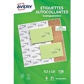 Papier créatif Avery 126 Etiquettes adressage transparentes