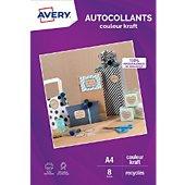 Papier créatif Avery 8 Autocollants kraft 19,96x28,91cm
