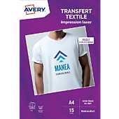 Papier créatif Avery 15 Transferts T-shirt blancs/clairs A4