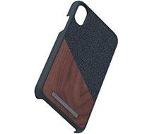 Coque Nordic Elements  iPhone Xr Bois de Noyer / Tissu noir