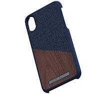 Coque Nordic Elements  iPhone Xr Bois de Noyer / Tissu bleu